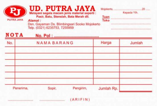contoh kwitansi UD.Putra Jaya