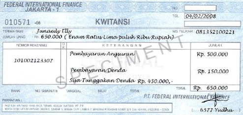 contoh kwitansi federal international finance