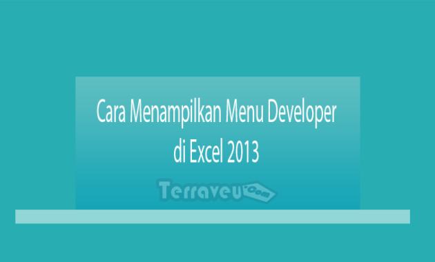 Cara Menampilkan Menu Developer di Excel 2013